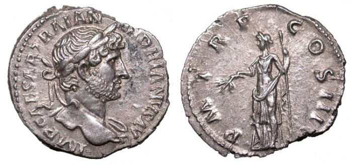 Ancient Coins - Hadrian 117-138 A.D. Denarius Rome Mint EF