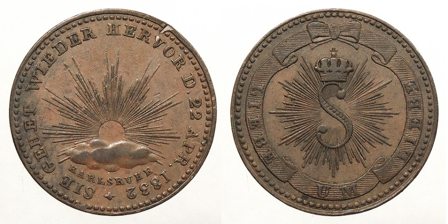 World Coins - GERMAN STATES: Baden 1832 Medallic issue Kreuzer Medallic Kreuzer