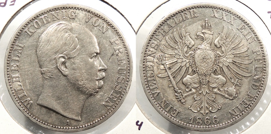 World Coins - GERMAN STATES: Prussia 1866-A KM-494 Thaler