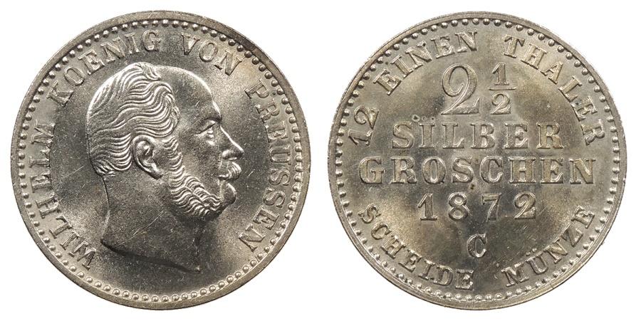 World Coins - GERMAN STATES Prussia (Preussen) Wilhelm I 1872-C 2-1/2 Silver Groschen BU