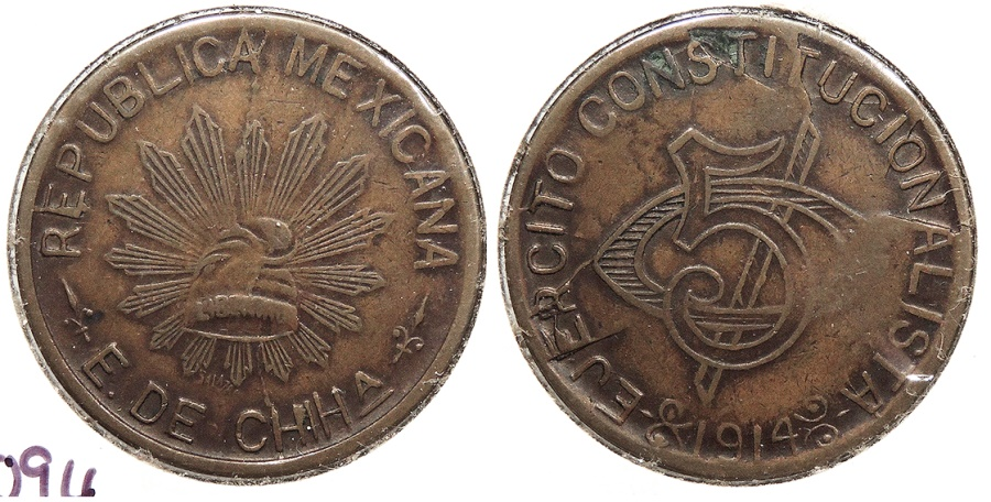 World Coins - MEXICO: Chihuahua 1914 5 Centavos