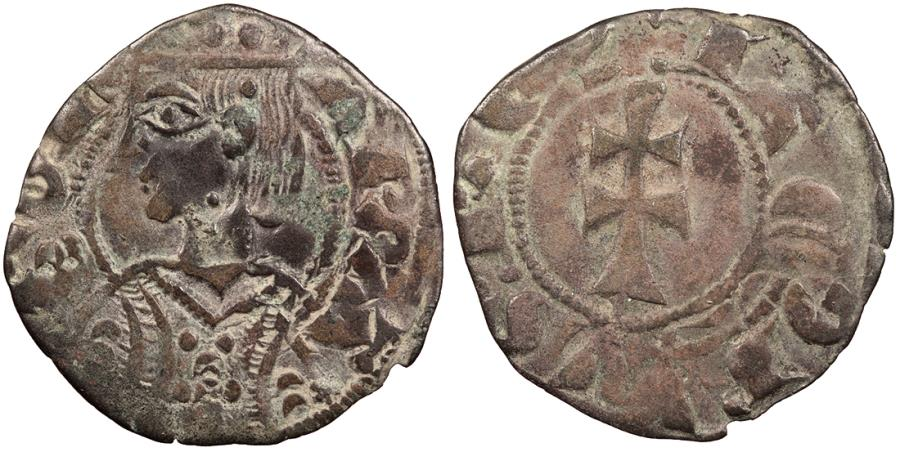 World Coins - SPAIN Aragon Jaime II 1291-1327 Dinero (Diner) EF
