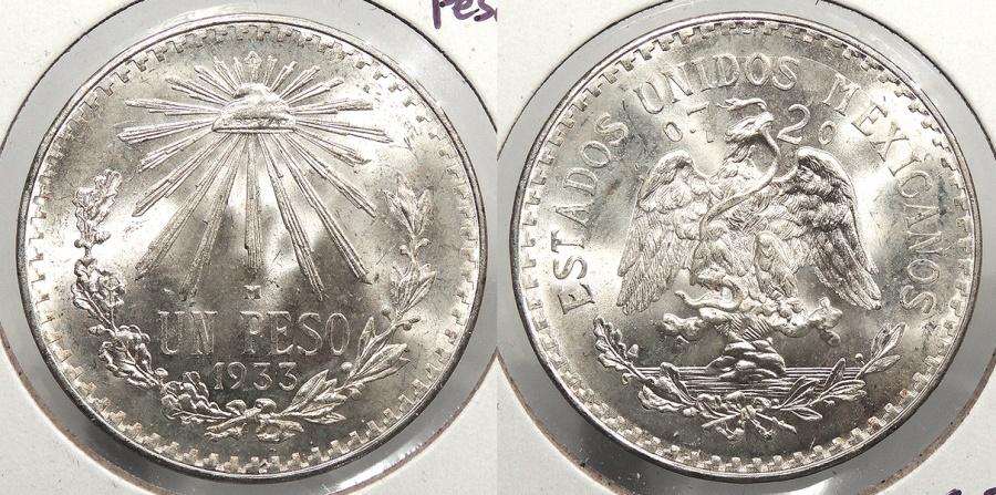 World Coins - MEXICO: 1933-Mo Peso