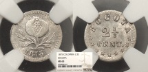 World Coins - COLOMBIA 1875 2.5 Centavos NGC MS-63