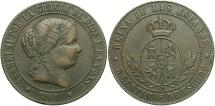World Coins - SPAIN: Isabella II 1868-OM 5 Centimos