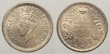 World Coins - INDIA: British India 1943 C 1/4 Rupee