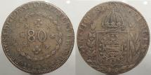 World Coins - BRAZIL: 1829-R 80 Reis