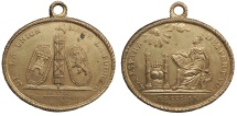 World Coins - SPAIN Fernando (Ferdinand) VII 1820 Gilt Bronze Jura (Proclamation medal) UNC
