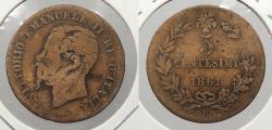 World Coins - ITALY: 1861-B Key date. 5 Centesimi