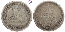 World Coins - MEXICO: 1875-Pi H 50 Centavos