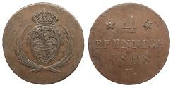 World Coins - GERMAN STATES Saxony (Sachsen) Friedrich August I 1808-H 4 Pfennige EF