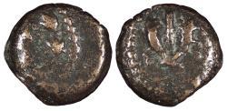 Ancient Coins - Judaea Hasmonean Dynasty Mattathias Antigonos 40-37 B.C. Prutah Fine