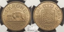 World Coins - GREENLAND Christian X 1926 Krone NGC MS-64