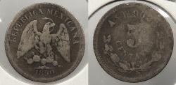 World Coins - MEXICO: 1890-As L 5 Centavos