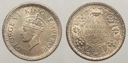 World Coins - INDIA: British India 1943 C 1/4 Rupee