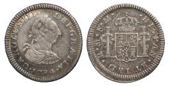 World Coins - MEXICO Carlos (Charles) III 1784-Mo FM 1/2 Real EF