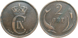 World Coins - DENMARK: 1892 2 Ore