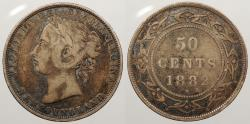 World Coins - CANADA: Newfoundland 1882-H Victoria 50 Cents