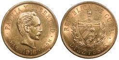 World Coins - CUBA 1916 10 Pesos AU/UNC