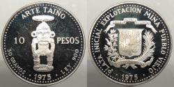 World Coins - DOMINICAN REPUBLIC: 1975 10 Pesos Proof