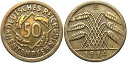 World Coins - GERMANY: 1924-G 50 Rentenpfennig