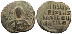 Ancient Coins - Anonymous, attributed to the joint reign of Basil II and Constantine VIII 976-1025 A.D. Follis Constantinople Mint Good Fine