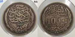 World Coins - EGYPT: AH 1335 / 1917 10 Piastres