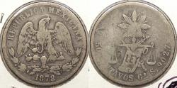 World Coins - MEXICO: 1878-Go S 50 Centavos