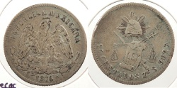 World Coins - MEXICO: Zacatecas 1876-Zs S 25 Centavos