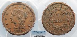 Us Coins - 1844/81 Coronet 1 Cent Misplaced date PCGS EF-40