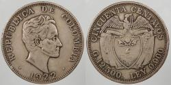 World Coins - COLOMBIA: 1922 50 Centaovs