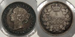 World Coins - CANADA: 1899 Victoria 5 Cents