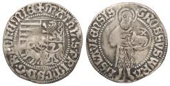 World Coins - GERMAN STATES Silesia (Schlesien) (Now Poland) Breslau Matthias Corvinus of Hungary 1469-1490 Half Groschen VF
