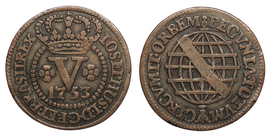 World Coins - BRAZIL Jose I 1753 5 Reis VF