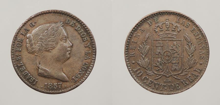 World Coins - SPAIN: 1857 10 Centimos