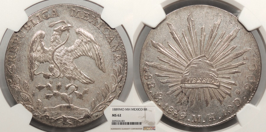 World Coins - MEXICO 1889-Mo MH 8 Reales NGC MS-62