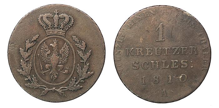 World Coins - GERMAN STATES Silesia (Schlesien) (Now in Poland) Under Brandenburg-Prussia 1810-A Kreutzer (Kreuzer) VF