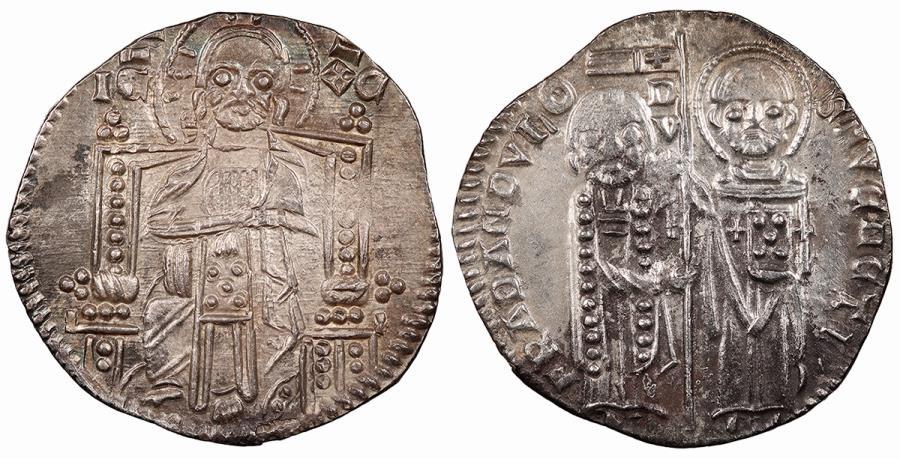 World Coins - ITALIAN STATES Venice Francesco Dandolo, 52nd Doge 1328-1339 Grosso Choice EF