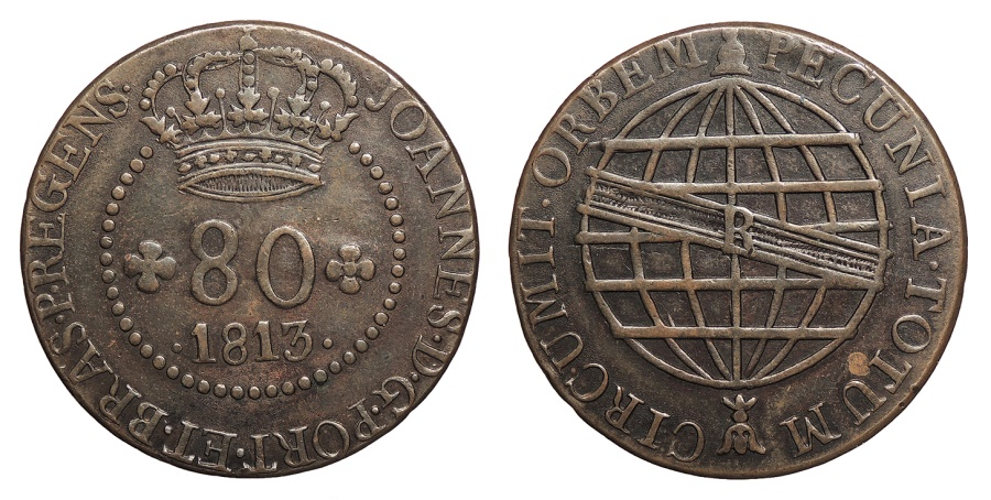 World Coins - SAINT THOMAS & PRINCE ISLANDS Joao, Prince Regent 1813-R 80 Reis Choice EF