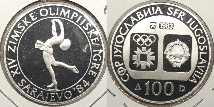 World Coins - YUGOSLAVIA: 1983 1984 Olympics Figure Skating proof 100 Dinara