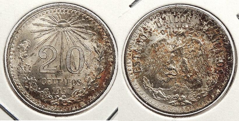 World Coins - MEXICO: 1937-Mo 20 Centavos