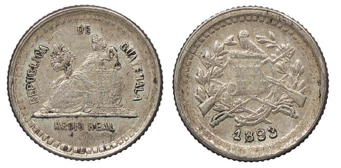 World Coins - GUATEMALA 1893/2 1/2 Real Good VF