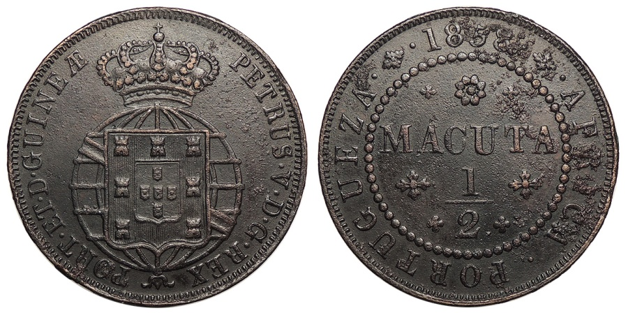 World Coins - ANGOLA D. Pedro V 'o Esperancoso' 1858 1/2 Macuta AU