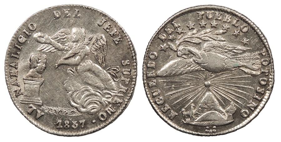 World Coins - BOLIVIA President Jorje Cordova 1857 Proclamation 1 Sol AU/UNC
