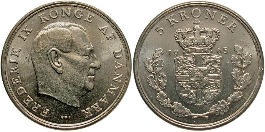World Coins - DENMARK: 1965 5 Kroner