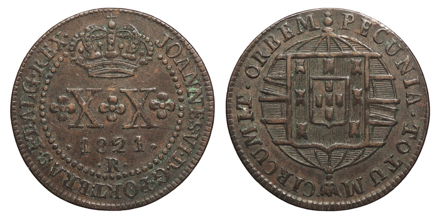 World Coins - BRAZIL Joao VI 1821-R 20 Reis Choice EF