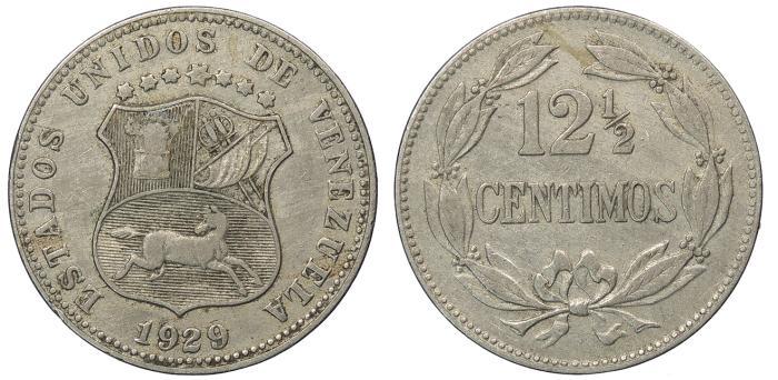 World Coins - VENEZUELA Republic 1929 12 1/2 Centimos Nice VF