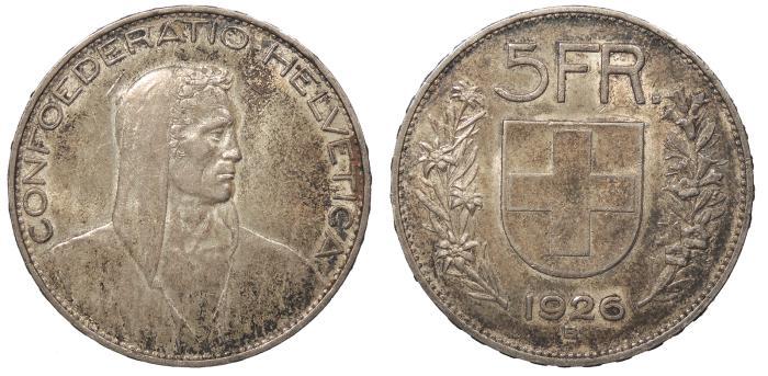World Coins - SWITZERLAND Confederation 1926-B 5 Francs AU