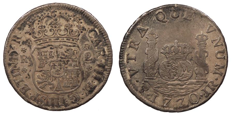 World Coins - BOLIVIA Carlos (Charles) III 1770-PTS JR 2 Reales Near EF