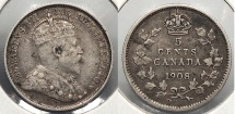 World Coins - CANADA: 1908 5 Cents